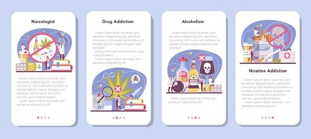 Zestaw banerów aplikacji mobilnej narkologa. profesjonalny lekarz specjalista.