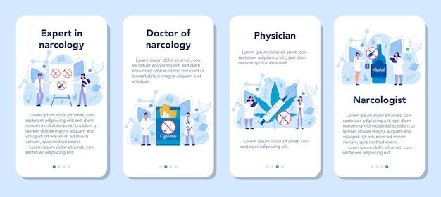 Zestaw banerów aplikacji mobilnej narkologa