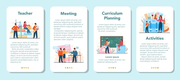 Zestaw banerów aplikacji mobilnej nauczyciela