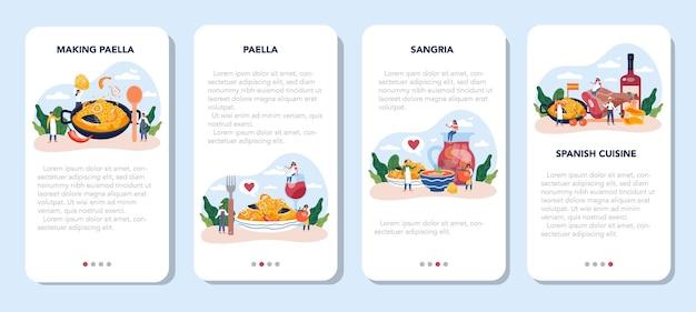 Zestaw banerów aplikacji mobilnej paella. hiszpańskie tradycyjne danie z owocami morza i ryżem na talerzu. szefowie kuchni gotują zdrową kuchnię dla smakoszy.