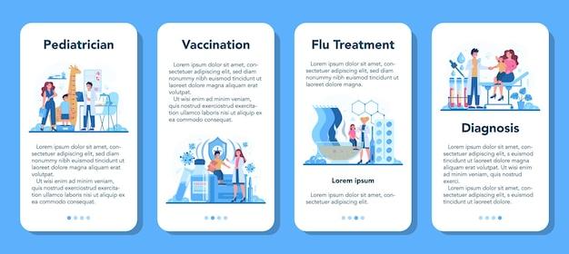 Zestaw banerów aplikacji mobilnej pediatra