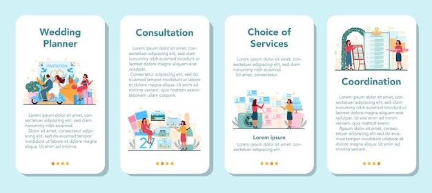 Zestaw banerów aplikacji mobilnej planowania ślubu. profesjonalny organizator planujący przyjęcie weselne.