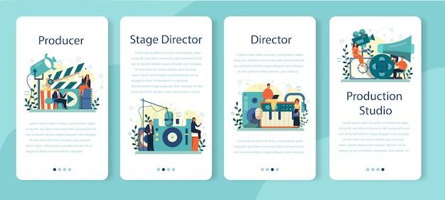 Zestaw banerów aplikacji mobilnej producenta. produkcja filmowa i muzyczna. idea kreatywnych ludzi i zawodu. wyposażenie studia. ilustracja na białym tle wektor