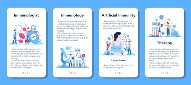 Zestaw banerów aplikacji mobilnej profesjonalnego immunologa