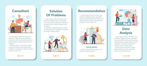 Zestaw banerów aplikacji mobilnej profesjonalnego konsultanta