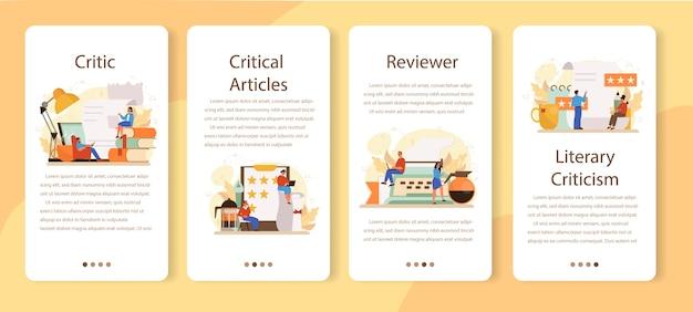 Zestaw banerów aplikacji mobilnej profesjonalnego krytyka