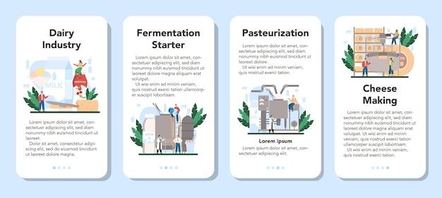 Zestaw banerów aplikacji mobilnej przemysłu mleczarskiego.