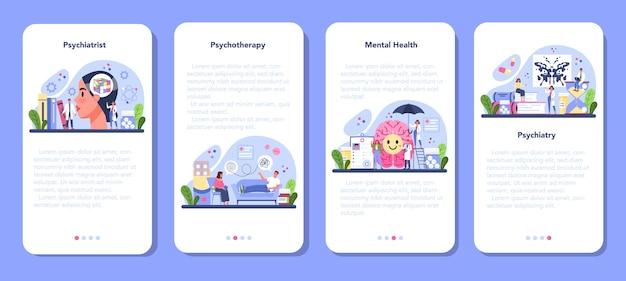 Zestaw banerów aplikacji mobilnej psychiatry. diagnostyka zdrowia psychicznego. lekarz zajmujący się psychiatrią leczący choroby umysłu. wsparcie psychologiczne. płaskie ilustracji wektorowych