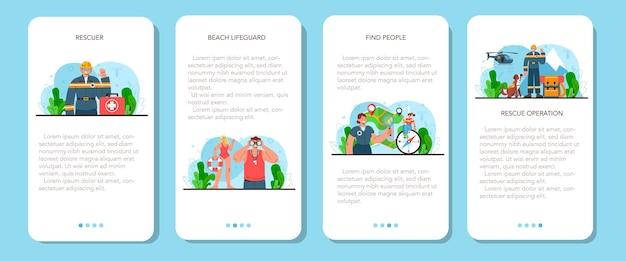 Zestaw banerów aplikacji mobilnej ratownik pomoc w nagłych wypadkach ratownik pogotowia ratunkowego
