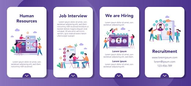 Zestaw banerów aplikacji mobilnej rekrutacji. idea zatrudnienia i zasobów ludzkich. znajdź kandydata do pracy. wolne miejsce, rozmowa kwalifikacyjna.