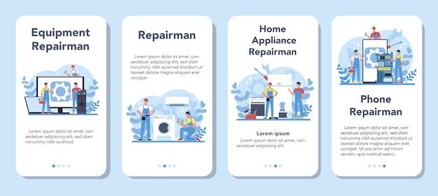 Zestaw banerów aplikacji mobilnej repairman. profesjonalny pracownik w mundurze naprawy elektrycznego urządzenia gospodarstwa domowego za pomocą narzędzia. zawód mechanika.