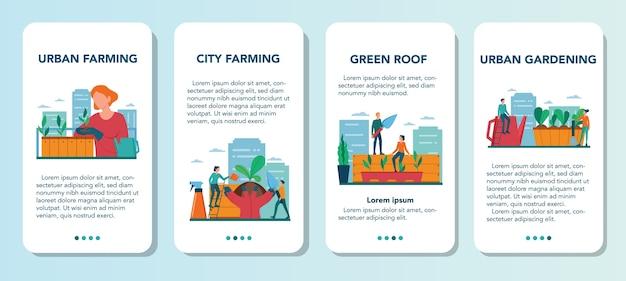 Zestaw banerów aplikacji mobilnej rolnictwa lub ogrodnictwa miejskiego. rolnictwo miejskie. osoby sadzące i podlewające kiełki na dachu lub balkonie. naturalna żywność ekologiczna.