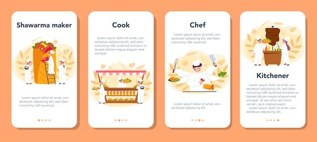Zestaw banerów aplikacji mobilnej shawarma street food. szef kuchni gotuje pyszną bułkę z mięsem, sałatką i pomidorem. kebab kawiarnia fast food. ilustracja wektorowa w stylu cartoon