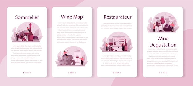 Zestaw banerów aplikacji mobilnej sommelier. specjalista z butelką wina gronowego i kieliszkiem pełnego alkoholu. wino gronowe w drewnianej beczce, przechowalnia wina.