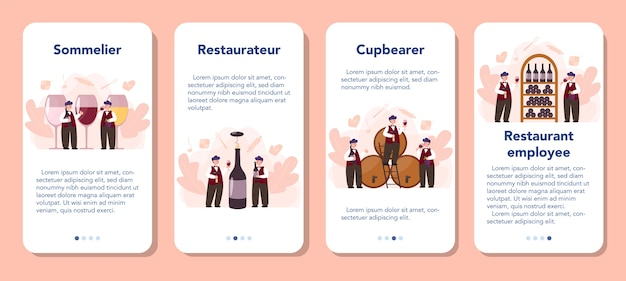 Zestaw banerów aplikacji mobilnej sommelier