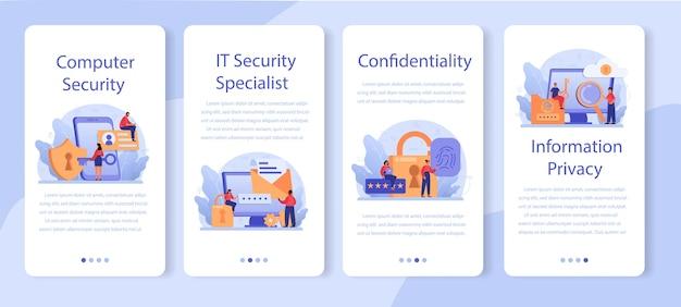 Zestaw banerów aplikacji mobilnej specjalizującej się w cyberbezpieczeństwie lub sieci