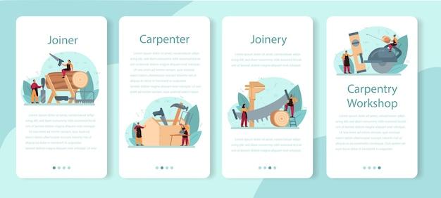 Zestaw banerów aplikacji mobilnej stolarz lub stolarz