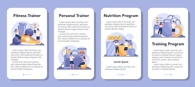 Zestaw banerów aplikacji mobilnej trenera fitness