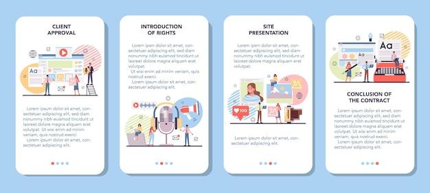 Zestaw banerów aplikacji mobilnej treści witryny