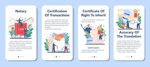 Zestaw banerów aplikacji mobilnej usługi notarialnej. profesjonalny prawnik podpisujący i legalizujący dokument papierowy. osoba świadcząca o podpisach na dokumencie.