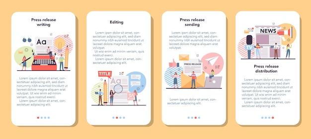 Zestaw banerów aplikacji mobilnej w komunikacie prasowym