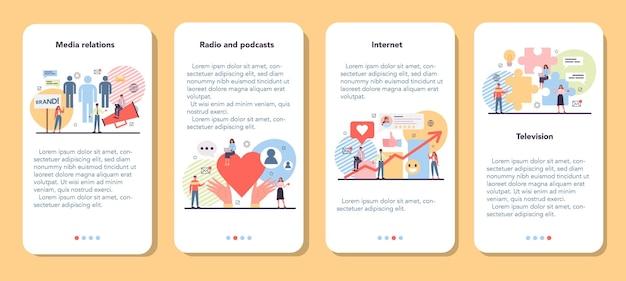 Zestaw banerów aplikacji mobilnych mediów