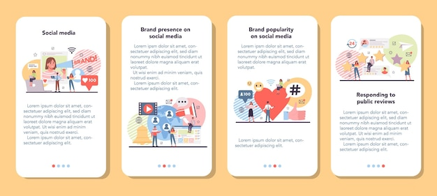 Zestaw banerów aplikacji mobilnych w mediach społecznościowych