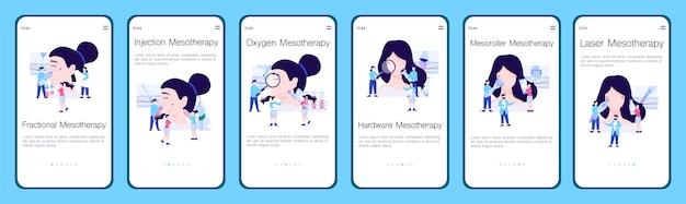 Zestaw banerów aplikacji typu meoterapia. zabieg odmładzający dla skóry. nowoczesna procedura liftingu. ułamkowe i wtryskowe. tlen i sprzęt, mezoroller i laser.