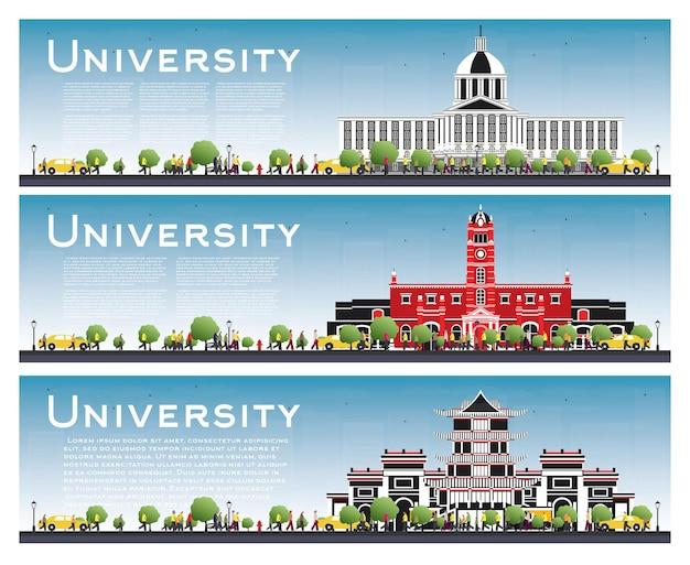 Zestaw banerów badania kampusu uniwersyteckiego. ilustracja wektorowa. studenci udają się do gmachu głównego uniwersytetu. skyline z niebieskim niebem i zielonym drzewem. baner z miejsca na kopię.