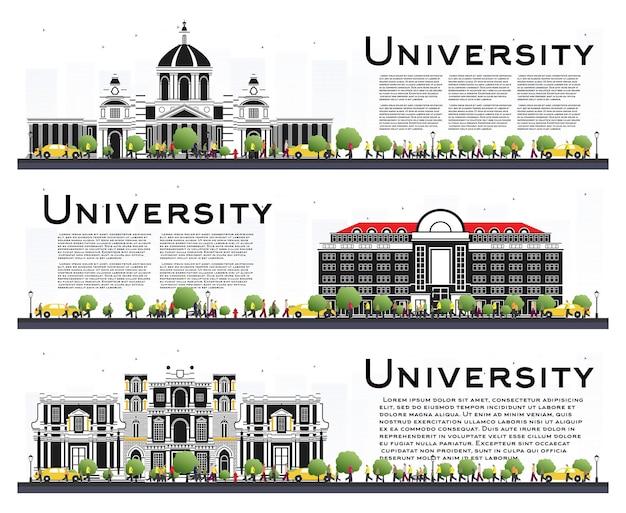 Zestaw banerów badania kampusu uniwersyteckiego na białym tle. ilustracja wektorowa. studenci udają się do gmachu głównego uniwersytetu. skyline z zielonym drzewem. baner z miejsca na kopię.