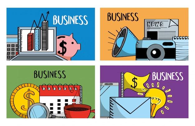 Zestaw banerów biznesowych laptop piggy kalendarza