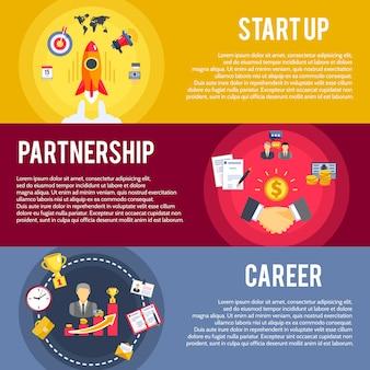 Zestaw banerów biznesowych płaski koncepcja startowa