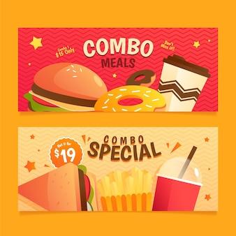Zestaw banerów combo posiłki fast food