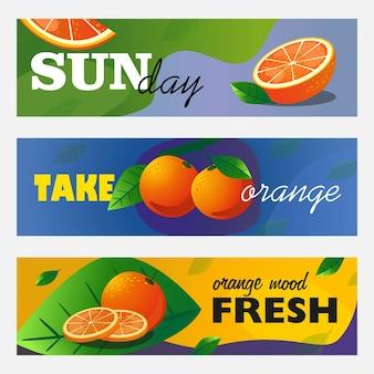 Zestaw banerów cytrusowych. całe i pokrojone pomarańczowe owoce i liście wektorowe ilustracje z tekstem. koncepcja żywności i napojów do projektowania ulotek i broszur ze świeżym barem