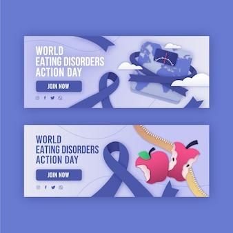 Zestaw banerów dnia akcji na świecie zaburzeń odżywiania w stylu papieru