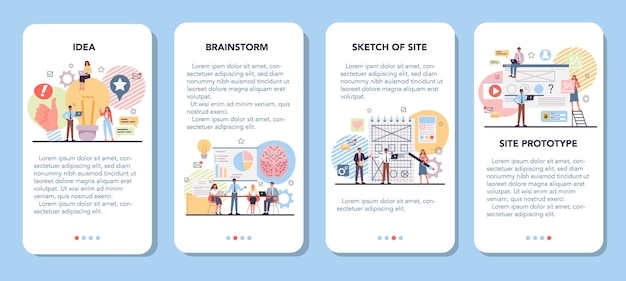 Zestaw banerów do prototypowania witryny internetowej