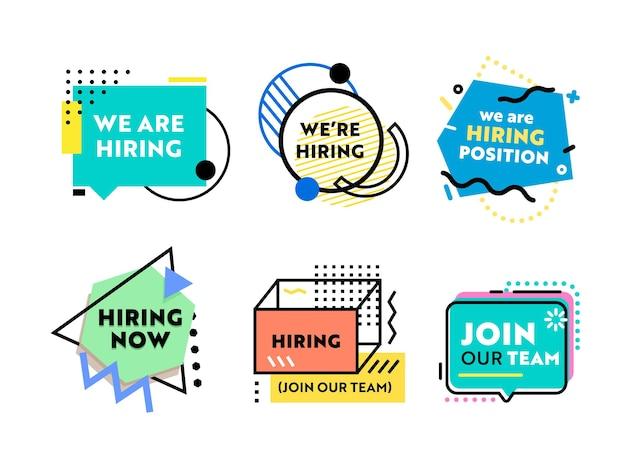 Zestaw banerów do rekrutacji i zatrudnienia. projekt plakatu biznesowego, zatrudniamy typografię z geometrycznymi nowoczesnymi kolorowymi kształtami. ulotka, broszura lub szablon tła okładki. ilustracja wektorowa