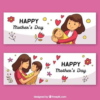 Zestaw banerów dzień matki z szczęśliwą rodziną
