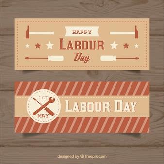 Zestaw banerów dzień pracy w stylu vintage