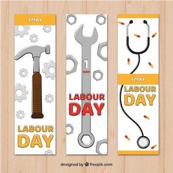 Zestaw banerów dzień pracy z narzędziami