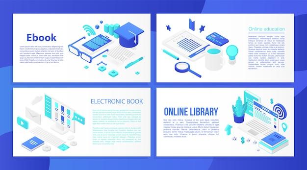Zestaw banerów ebook, styl izometryczny