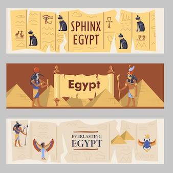 Zestaw banerów egipt. ilustracje wektorowe egipskich piramid, kotów i bogów z tekstem. szablony do ulotek turystycznych lub broszur
