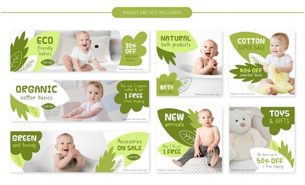 Zestaw banerów eko sprzedaż dziecka - zielone liście