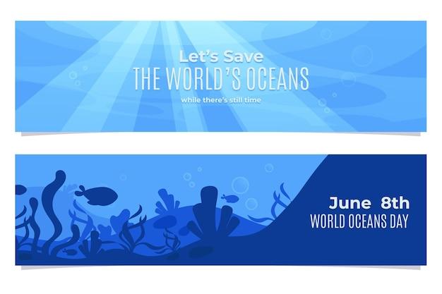 Zestaw banerów ekologicznych płaskich światowych oceanów dnia