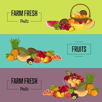 Zestaw banerów ekologicznych produktów rolnych