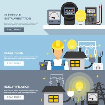 Zestaw banerów energii elektrycznej