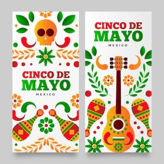 Zestaw banerów gradientowych cinco de mayo