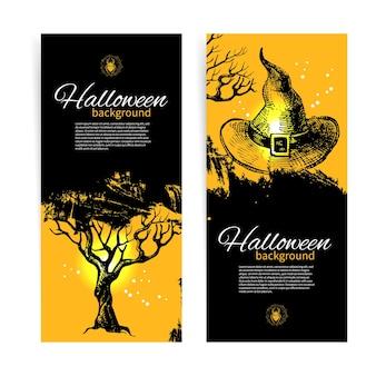 Zestaw banerów halloween. ręcznie rysowane ilustracja