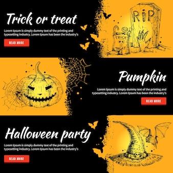 Zestaw banerów halloween