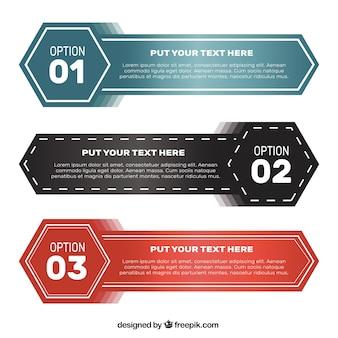 Zestaw banerów infograficznych z sześciokątami